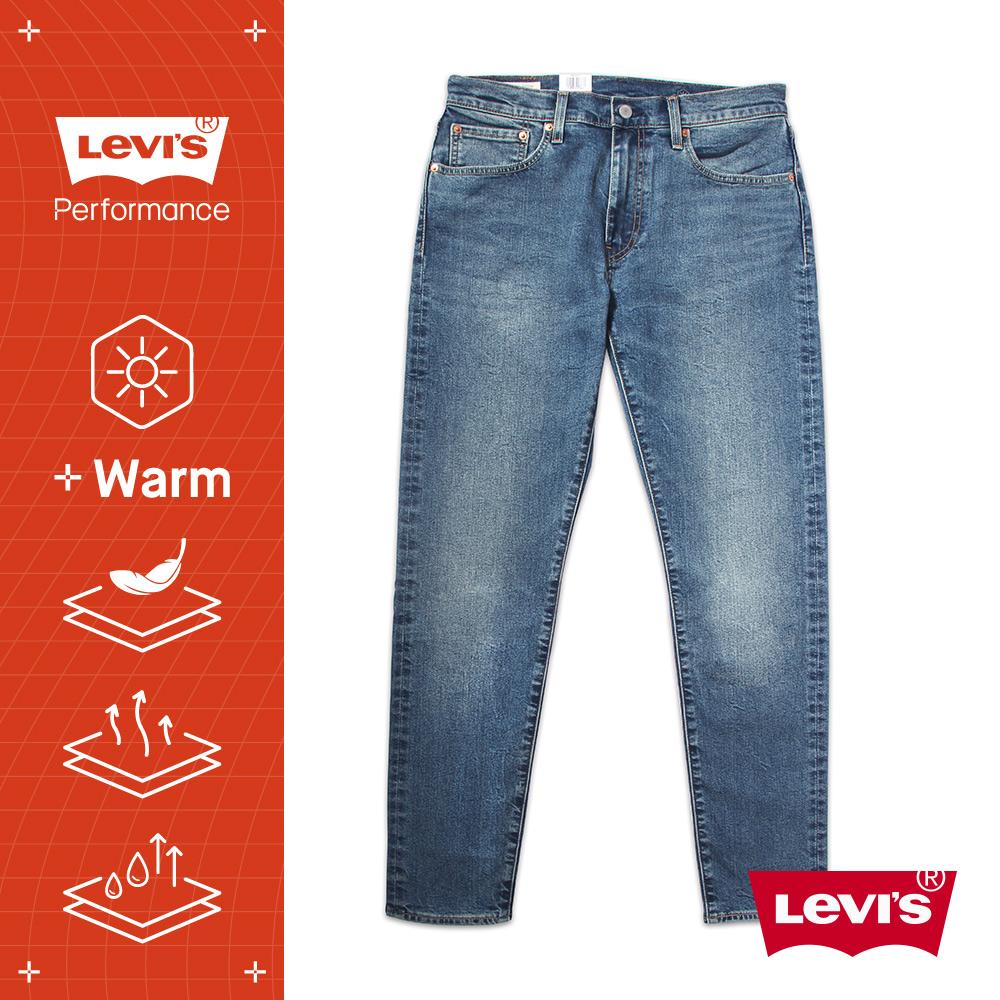 Levis 男款 上寬下窄 512低腰修身窄管牛仔褲 WARM JEANS 機能保暖內刷毛 深藍刷白 彈性布料