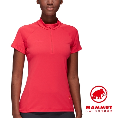 【Mammut 長毛象】Aegility Half Zip T-Shirt 立領半拉鍊短袖排汗衣 日落紅 女款 #1017-01840
