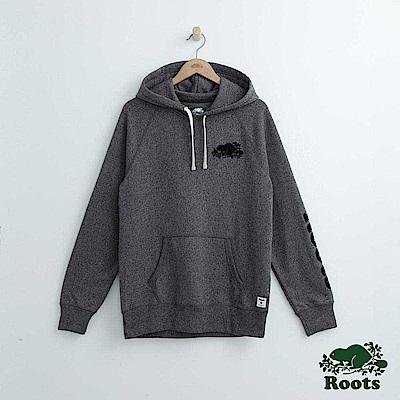 Roots 男裝-左臂字標連帽上衣-灰色
