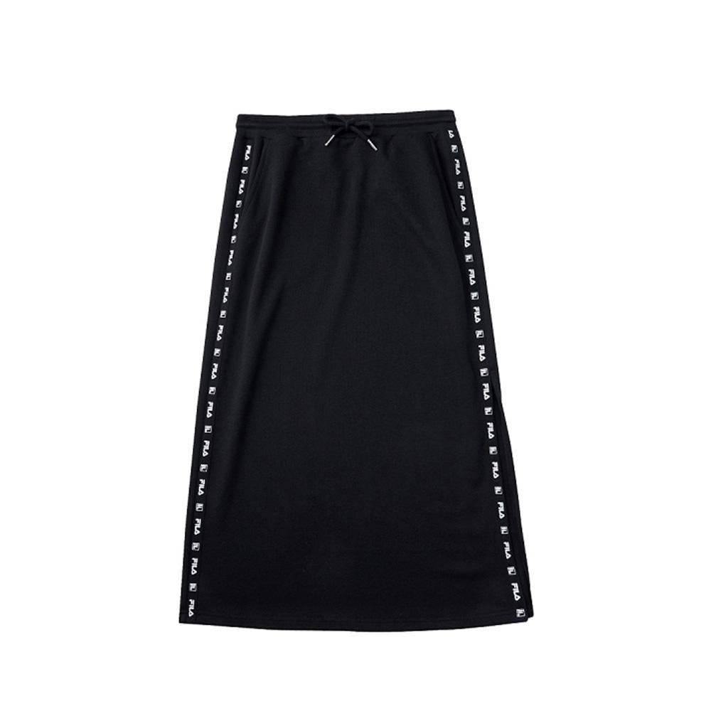 FILA #架勢新潮 女針織長裙-黑色 5SKV-1447-BK