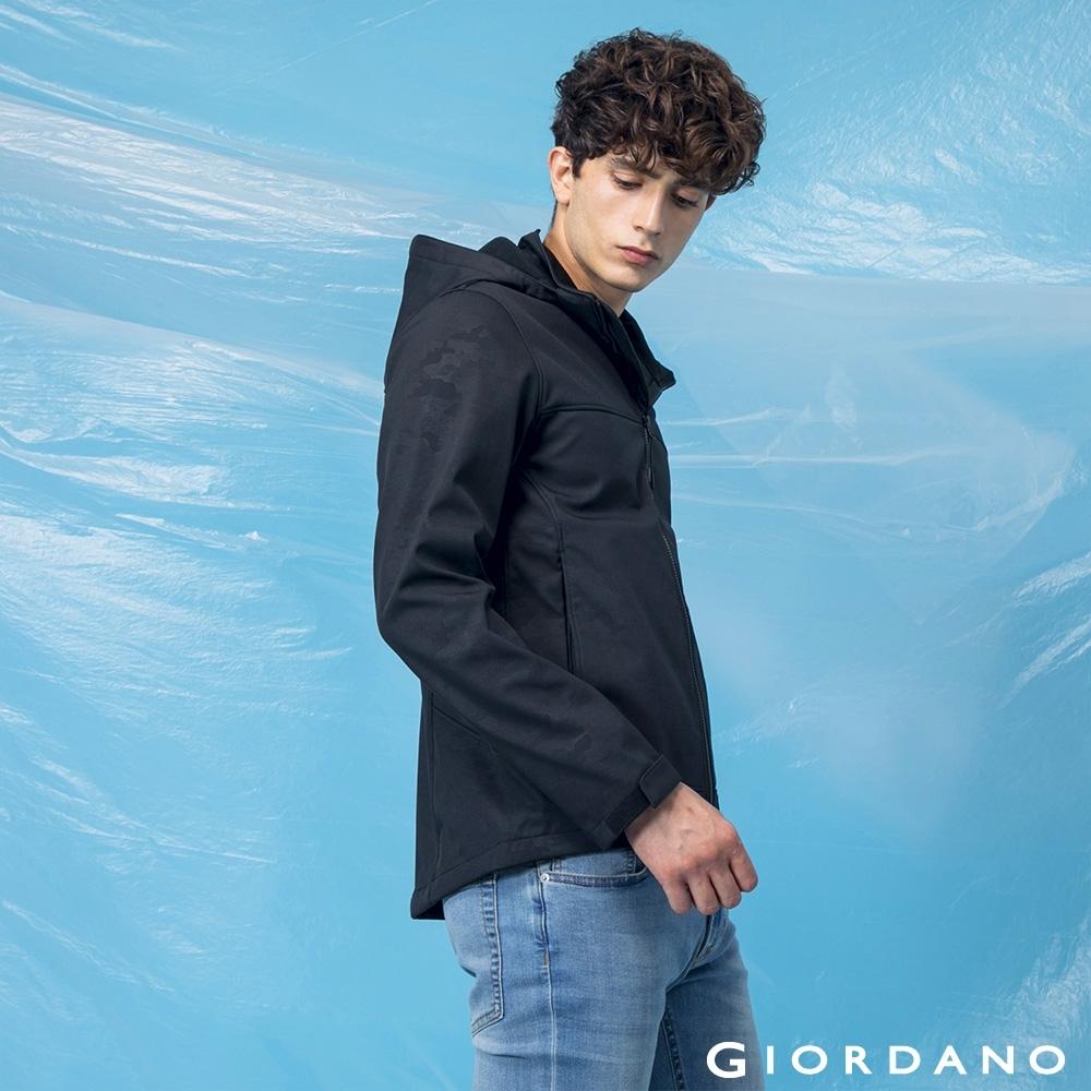 GIORDANO 男裝高機能可拆式連帽外套 - 96 迷彩黑