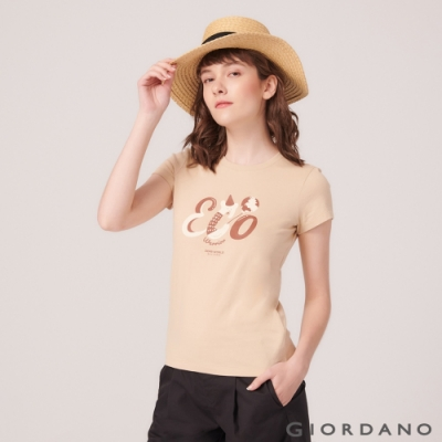 【GIORDANO】女裝DEAR WORLD系列印花T恤-12 水泥灰