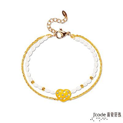 J'code真愛密碼 滿滿愛黃金/天然珍珠手鍊-雙鍊款