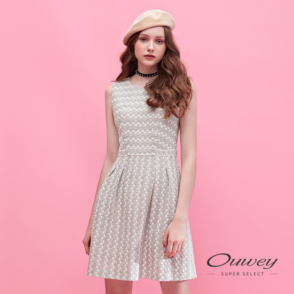 OUWEY歐薇 含棉波紋造型亮片毛呢背心洋裝(灰)