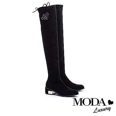 過膝靴 MODA Luxury 完美顯瘦蜜蜂造型金屬拼跟綁帶過膝靴-黑