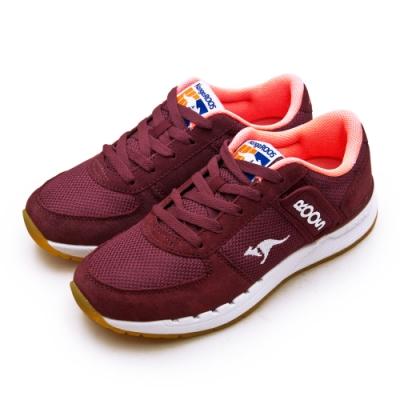 KangaROOS 經典撞色復古越野慢跑鞋 COMBAT紅標系列 酒紅91022