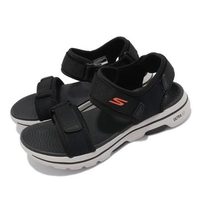 Skechers 涼鞋 Go Walk 5 魔鬼氈 男鞋 穩定 支撐 避震 緩衝 穩定 黑 白 229003BKOR