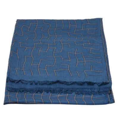 HERMES 經典幾何圖形羊毛圍巾(藍)
