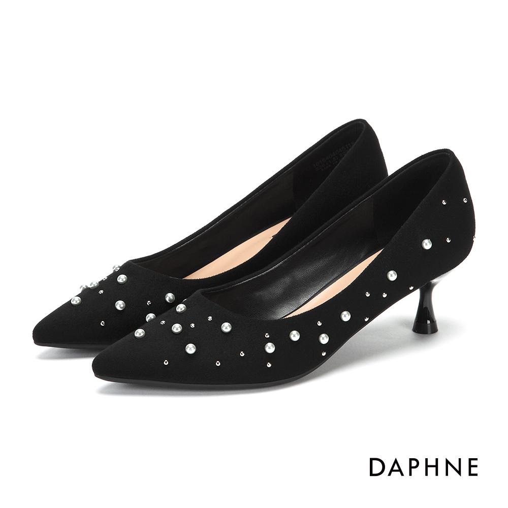 達芙妮DAPHNE 高跟鞋-珠飾鉚釘絨面高跟鞋-黑