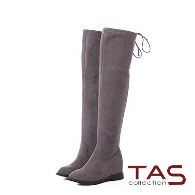 TAS後綁帶蝴蝶結絨布美腿膝上靴–冬季灰