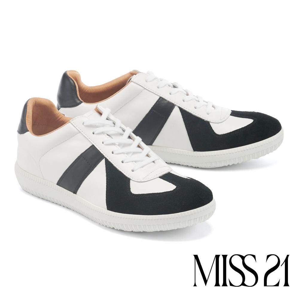 休閒鞋 MISS 21 率性時尚撞色拼接全真皮綁帶休閒鞋-黑