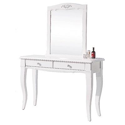 AS-Nana歐風白3.3尺高腳鏡台桌椅組-100x41x151cm