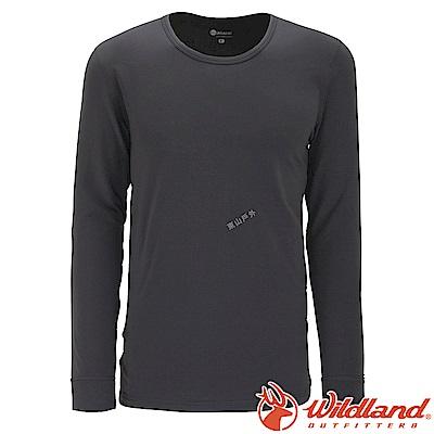 Wildland 荒野 W2656-93深灰色 男遠紅外線保暖U領衛生衣