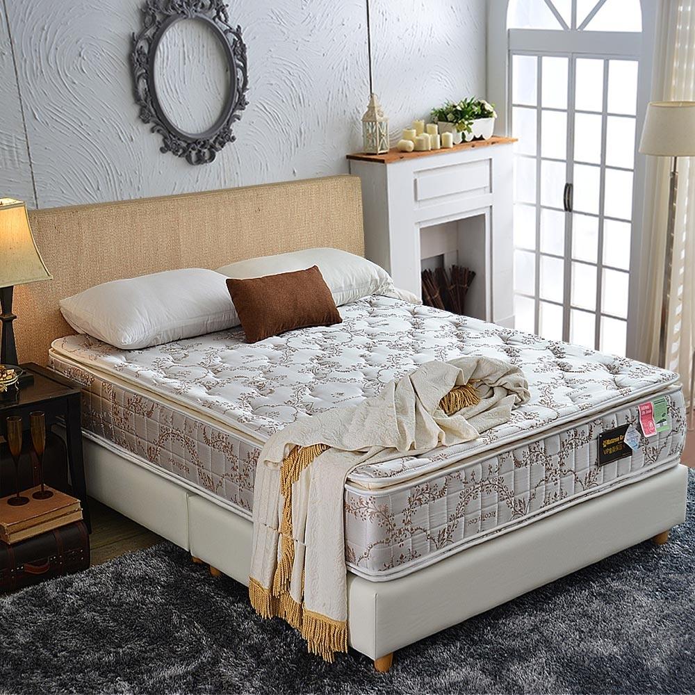 雙人加大6尺真四線-乳膠抗菌+涼感透氣+護邊-護腰型蜂巢獨立筒床墊正反可睡