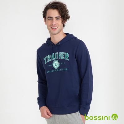 bossini男裝-圖案連帽厚棉T恤01海軍藍