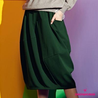 【SHOWCASE】側口袋棉質剪接七分長-綠