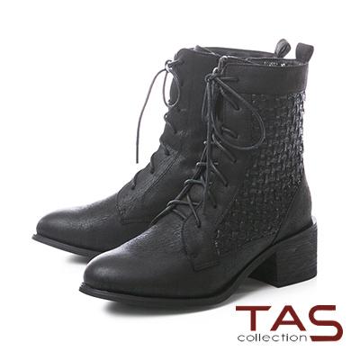 TAS質感藤編壓紋仿皮布綁帶粗跟短靴–帥氣黑