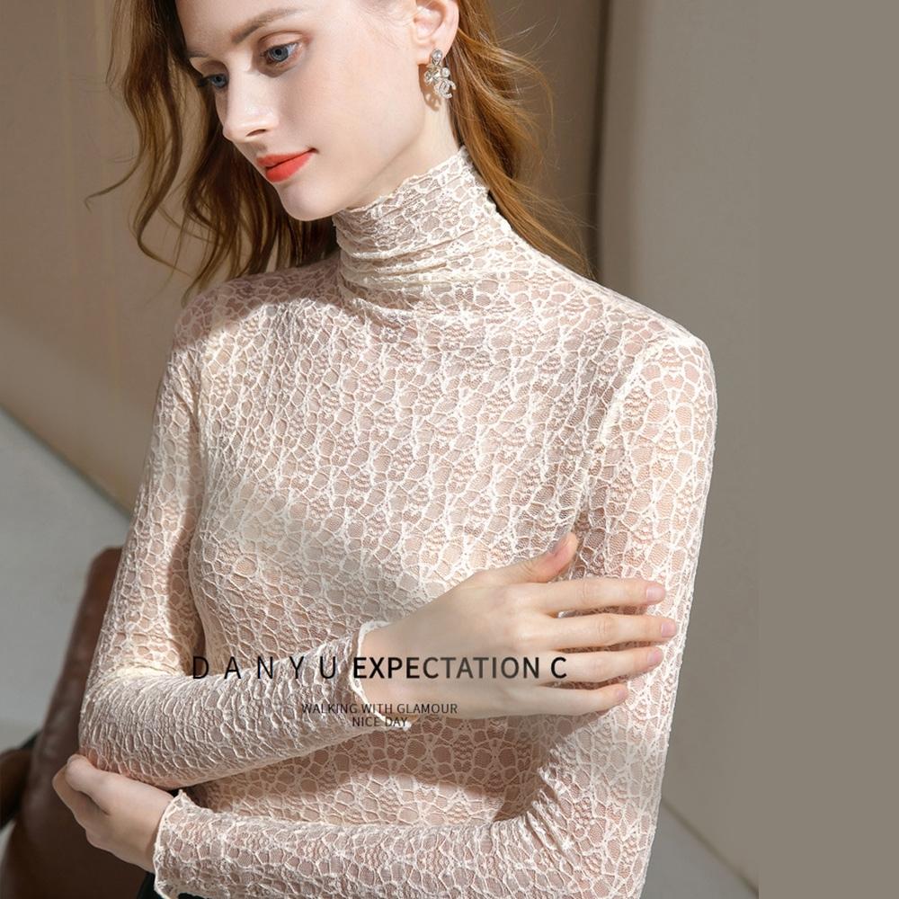 專注內搭-滾邊高領蕾絲內搭長袖T恤透視網紗上衣(二色S-2XL可選)