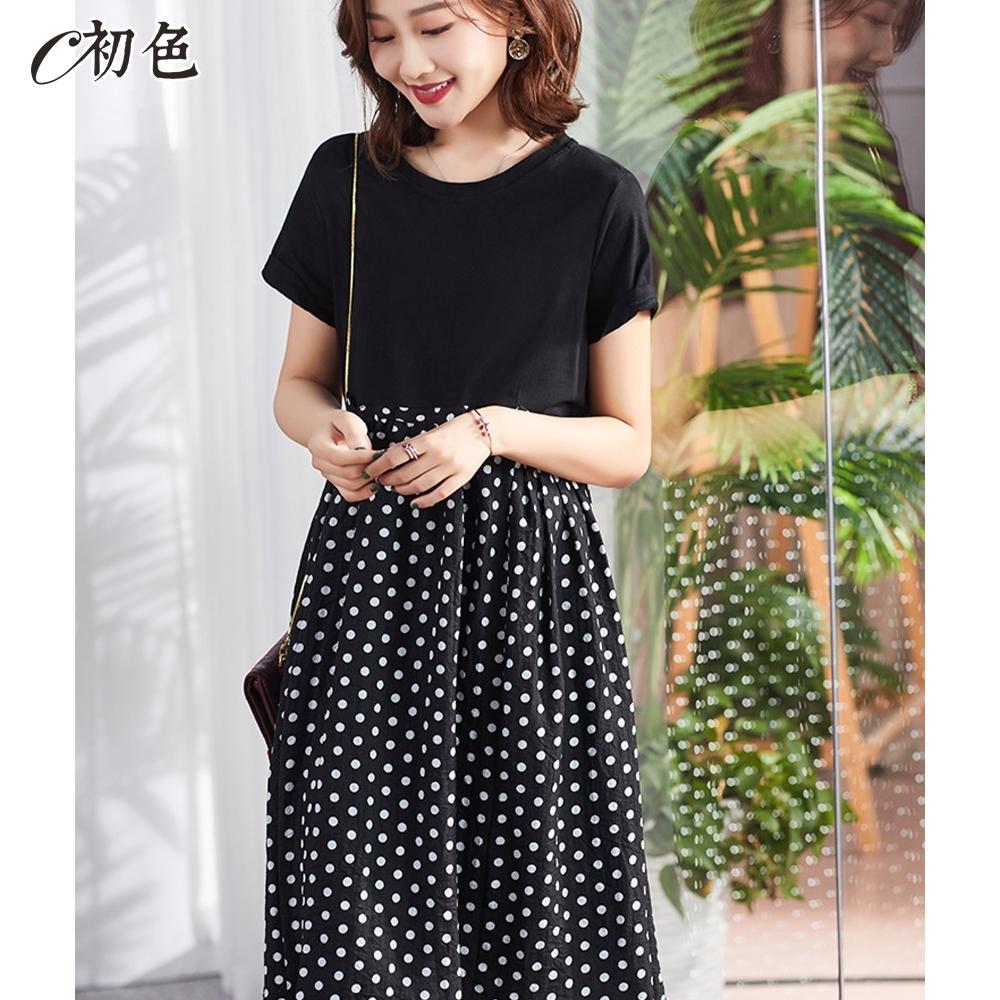 初色  波點印花拼接連身裙-黑色-(M-2XL可選)