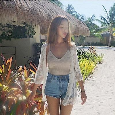 AH dream夢想女孩 針織蕾絲比基尼外搭罩衫C6129