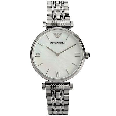 EMPORIO ARMANI 經典珍珠貝女士腕錶-(AR1682)-32mm