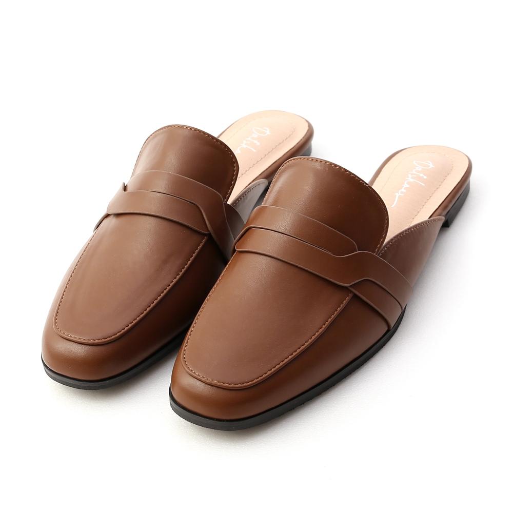 D+AF 幾何變化.特殊剪裁平底穆勒鞋*咖