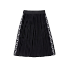 FILA KIDS #日潮攻略首部曲 女童七分雪紡褶裙-黑色 5SKU-4436-BK