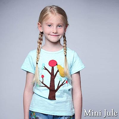 Mini Jule 童裝-上衣 果實點點大樹竹節棉T(藍)
