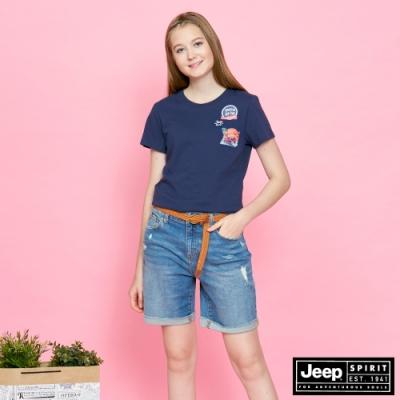 JEEP 女裝 經典品牌圖騰短袖TEE-深藍