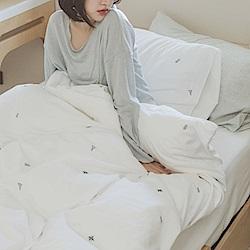 翔仔居家 新疆棉系列 雙人刺繡被套 - 珍珠白x仙人掌