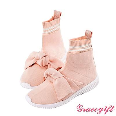 Disney collection by grace gift蝴蝶結運動風襪套鞋 粉