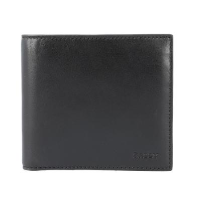 BALLY  字母壓印LOGO 牛皮零錢袋短夾 (經典黑)