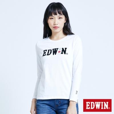 EDWIN 塗鴉LOGO 薄長袖T恤-女-白色