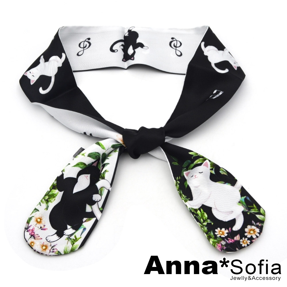 AnnaSofia 可愛插畫動物 細版仿絲小領巾絲巾髮帶(舞動黑白貓)
