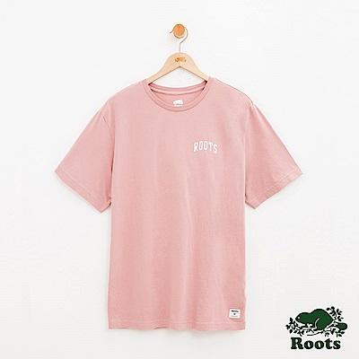 男裝Roots 左胸LOGO短袖T恤-粉