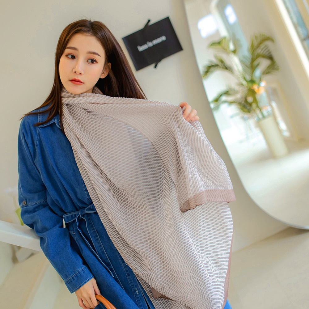 優雅滿版印花絲巾圍巾-OB大尺碼