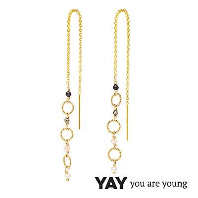 YAY You Are Young Black Swan 珍珠X寶石耳環 金色拉線設計