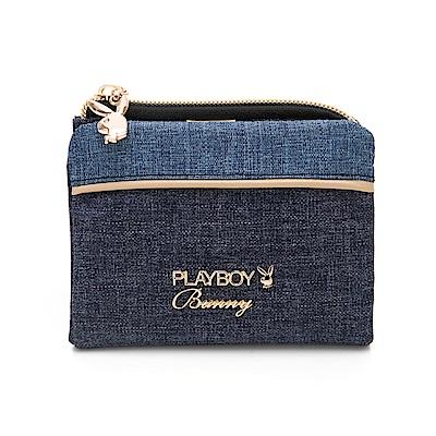 PLAYBOY-  短夾 單寧世代系列 -藍色
