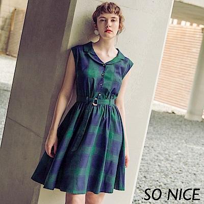 SO NICE復古造型翻領格紋洋裝
