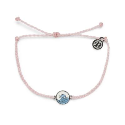 Pura Vida 美國手工 MAKE WAVES SILVER 銀色海浪 粉色蠟線衝浪手鍊手環