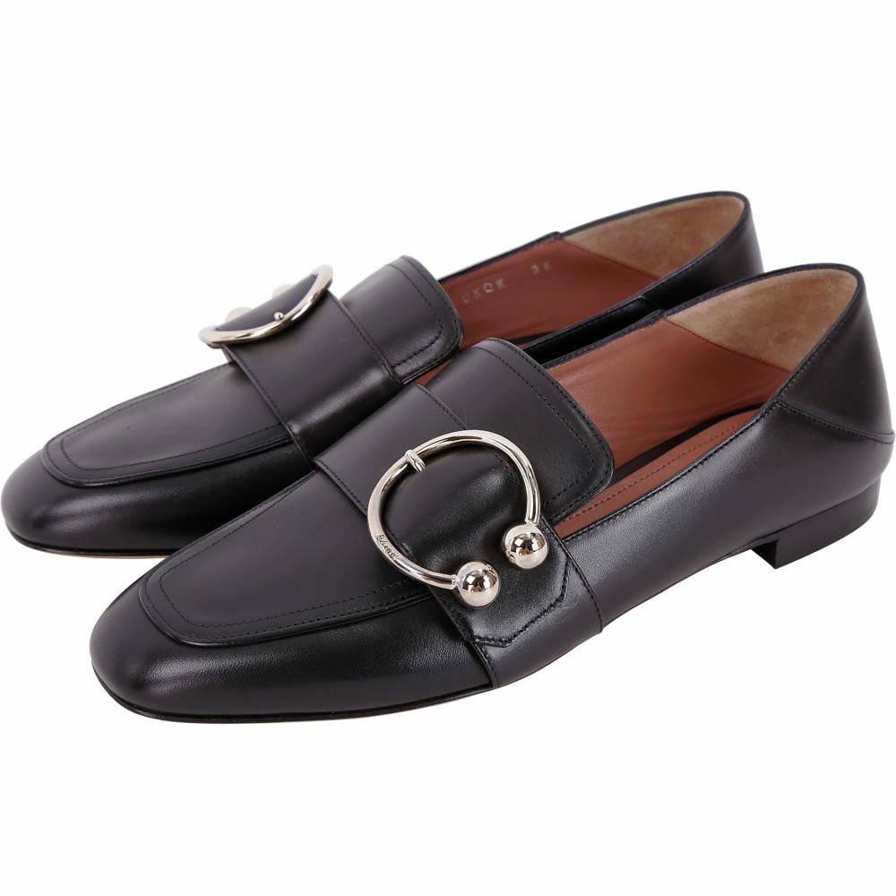 BALLY Malinda 金屬環飾小牛皮樂褔鞋(黑色)