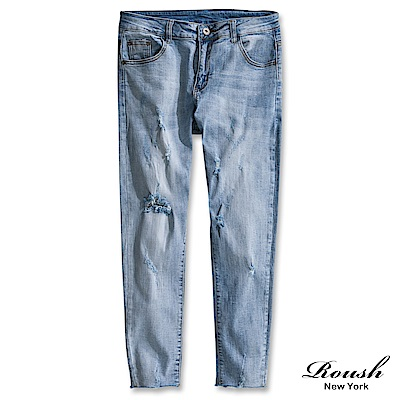Roush 下擺抽鬚刷白破壞淺藍牛仔褲