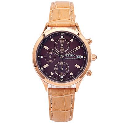 SEIKO 優雅時尚的計時手錶(SNDX04P1)-咖啡色面/36mm