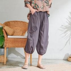 慢 生活 立體拚布繭型寬褲- 灰色