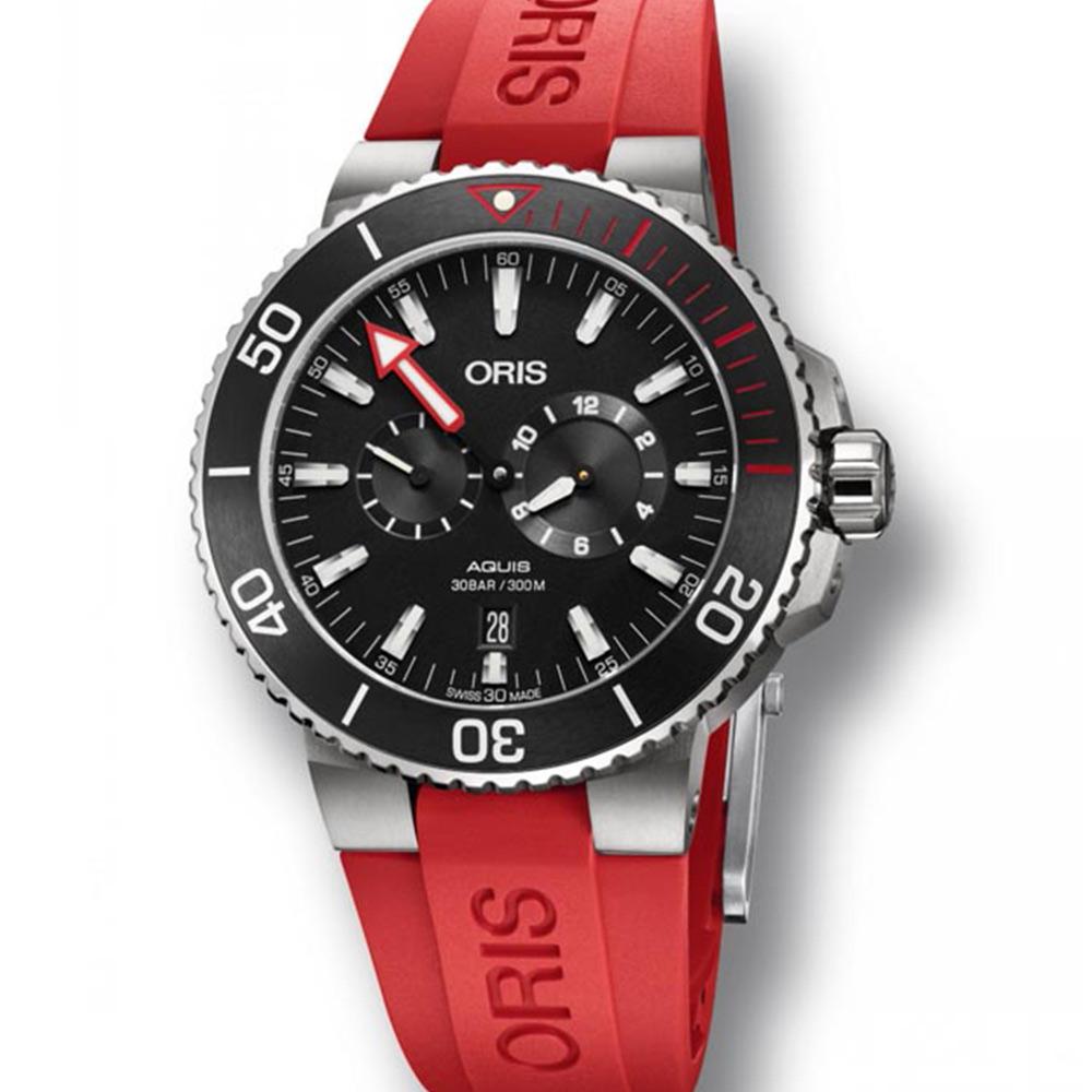 ORIS 豪利時 Aquis 時間之海黑x紅淺水校正套錶x44mm