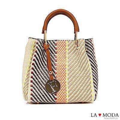 La Moda 編織風格可拆式2WAY手提肩背子母包(條紋)