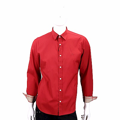BURBERRY 格紋細節亮紅色伸縮棉質府綢長袖襯衫(男款)