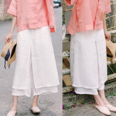 休閒褲-高支細亞麻雙層不透白色九分棉麻褲裙-設計所在