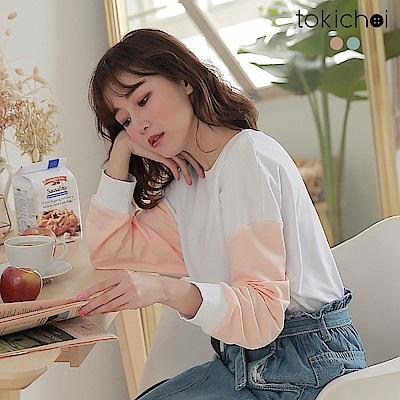 東京著衣-活力少女袖子配色拼接長袖T恤-S.M.L(共兩色)