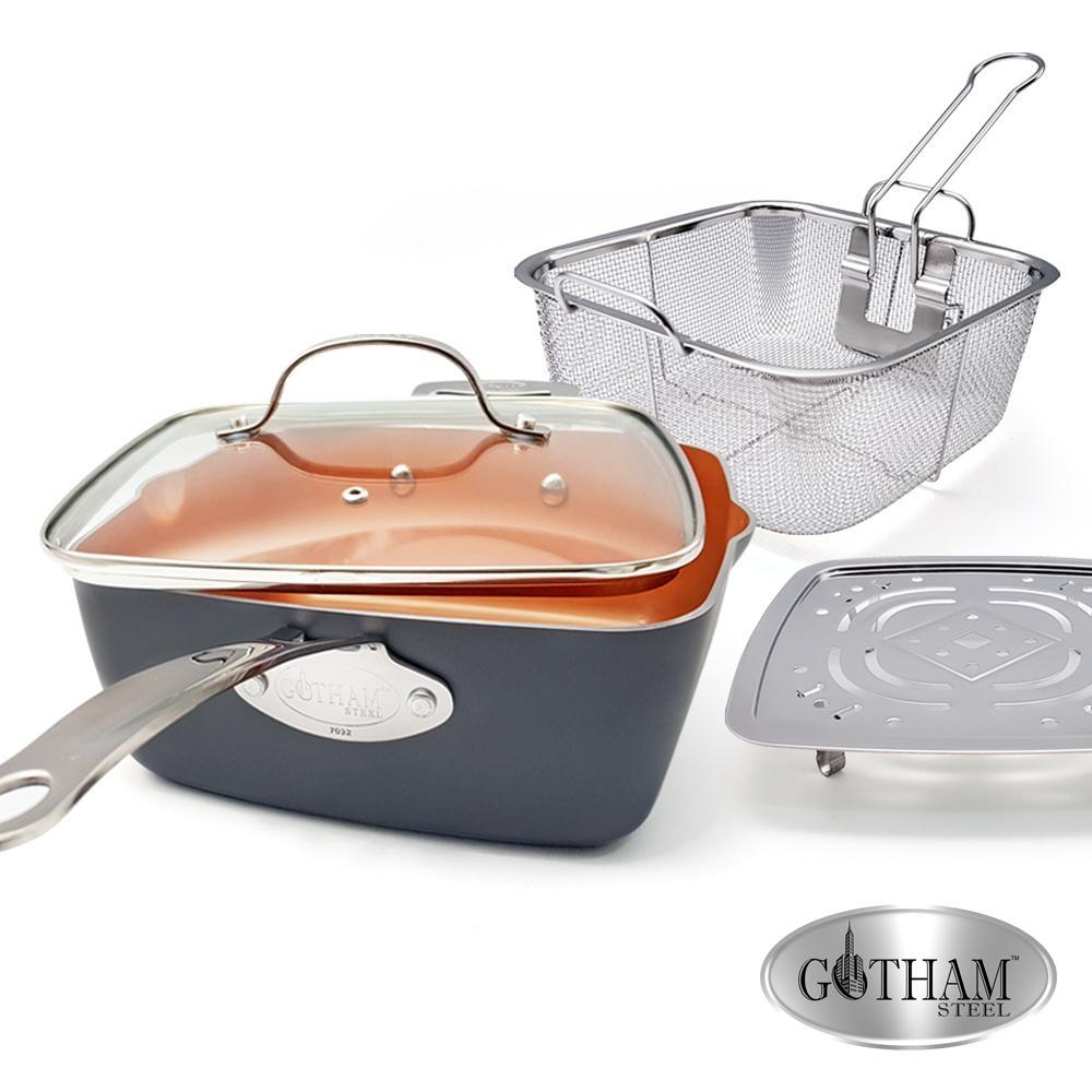 美國GOTHAM 鈦金陶瓷多功能方型不沾鍋具4件組